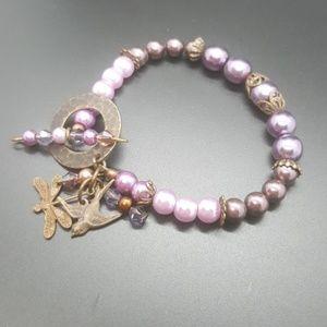 Jewelry - Handmade Vintaj Brass & Pearl Bracelet